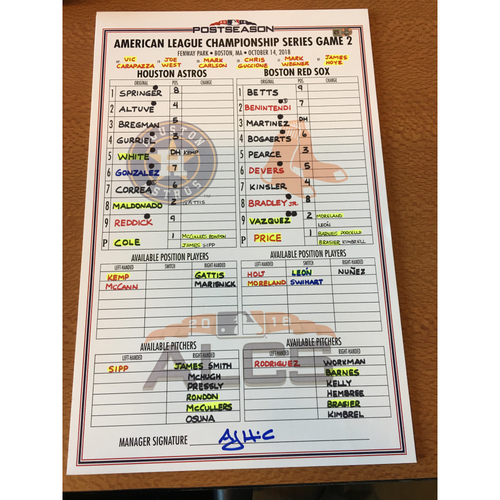 Photo of 2018 Game-Used ALCS Game 2 Lineup Card - 10/14/18 at BOS