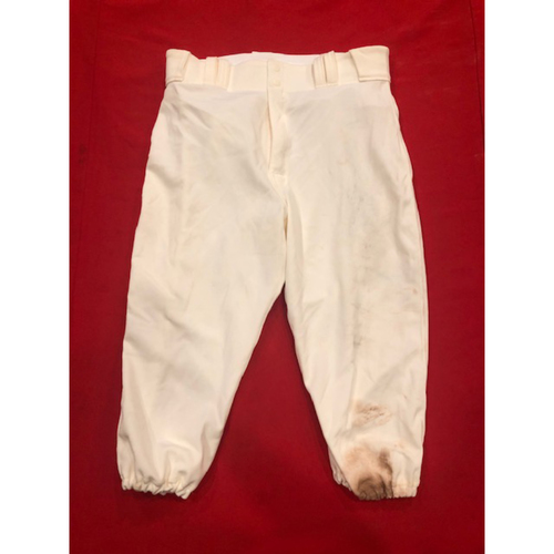 Photo of Nick Senzel -- Game-Used Pants -- 1902 (Hit First Career Home Run) & 1912 Throwback Games (Starting CF: Went 2-for-5, 5th Career SB) -- Size: 34-41-19