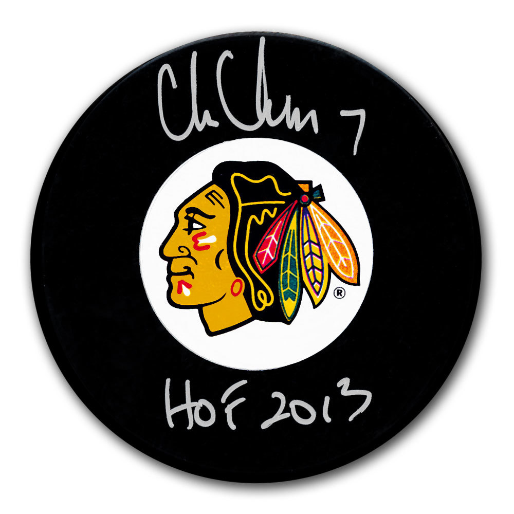 Chris Chelios Chicago Blackhawks HOF Autographed Puck