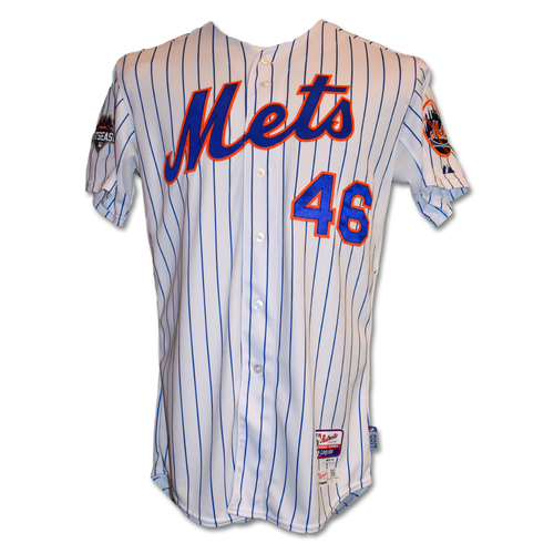 Photo of Tyler Clippard #46 - Game-Used White Pinstripe Jersey - NLDS Game 4; 1 IP, 0 ER - Mets vs. Dodgers - 10/13/15