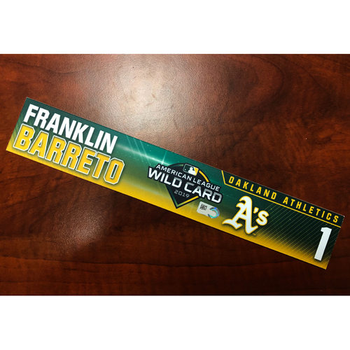 Photo of Franklin Barreto Game-Used 2019 A.L. Wild Card Locker Nameplate