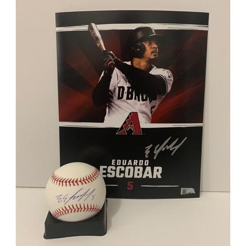 Eduardo Escobar Autographed 8x10 and Ball