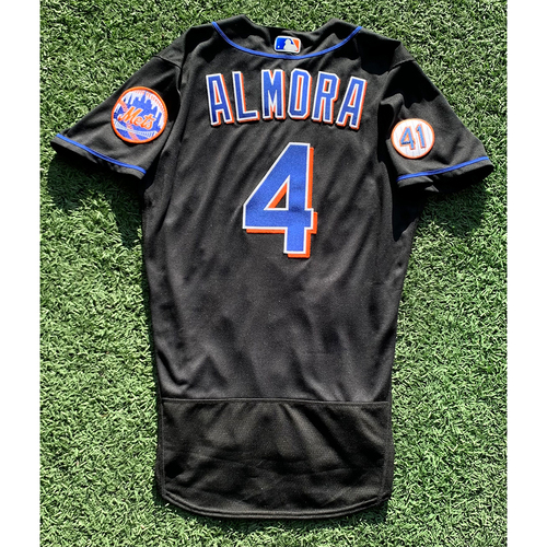Photo of Albert Almora #4 - Game Used Black Jersey with Seaver Patch - Mets vs. Yankees - 9/10/21 - Also Worn 8/13/21