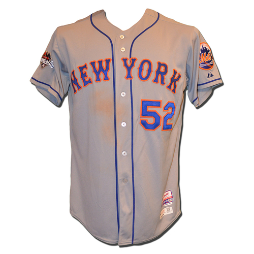 Photo of Yoenis Cespedes #52 - Game Used 2015 Postseason Road Grey Jersey - Game 5 of NLDS - Mets vs. Dodgers - 10/15/15 - NLCS Game 3 - Mets vs. Cubs - 3-5, 2 RBI, Run Scored - 10/20/15