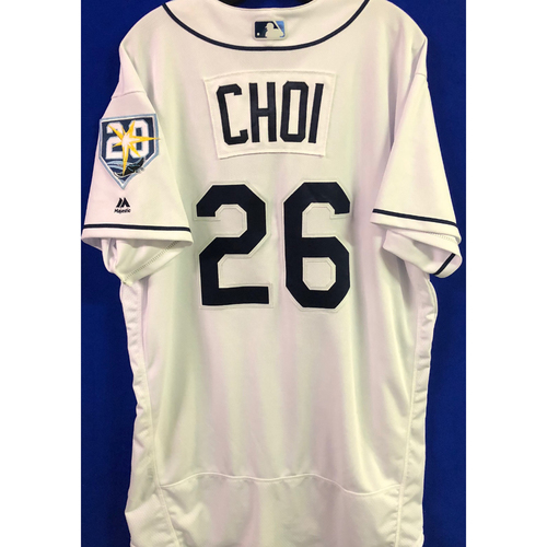 Photo of 20th Anniversary Game Used Home White Jersey: Ji-Man Choi (2-4) - Tampa Bay Rays Debut - July 11, 2018 v DET