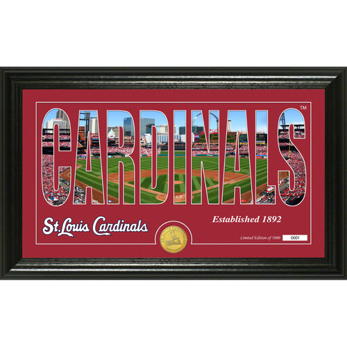 "Photo of Serial #1! St. Louis Cardinals ""Silhouette"" Panoramic Bronze Coin Photo Mint"