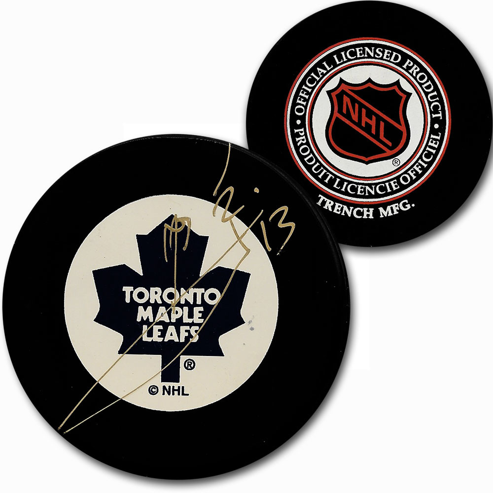 Mats Sundin Autographed Toronto Maple Leafs Vintage Trench Puck