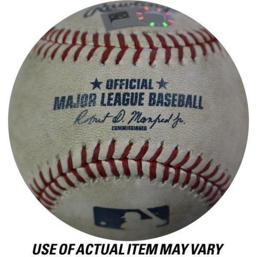 Photo of Astros at Yankees 10/18/2017 ALCS Game Used Baseball (Top 3 - Jose Altuve Swinging Strike, Ball In Dirt)