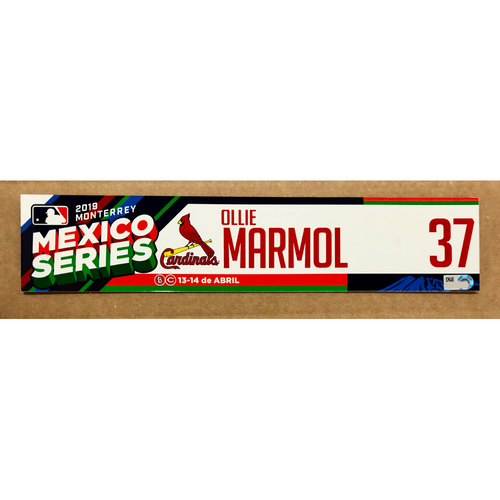 Photo of 2019 Mexico Series - Game Used Locker Tag - Oliver Marmol -  St. Louis Cardinals
