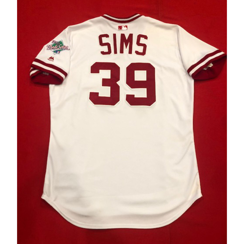 Photo of Lucas Sims -- Game-Used 1990 Throwback Jersey -- Cardinals vs. Reds on Aug. 18, 2019 -- Jersey Size 46