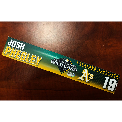 Photo of Josh Phegley Game-Used 2019 A.L. Wild Card Locker Nameplate