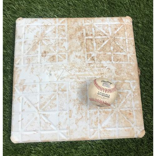 Photo of Kurt Suzuki Single Baseball and Game-Used Base - October 14, 2019