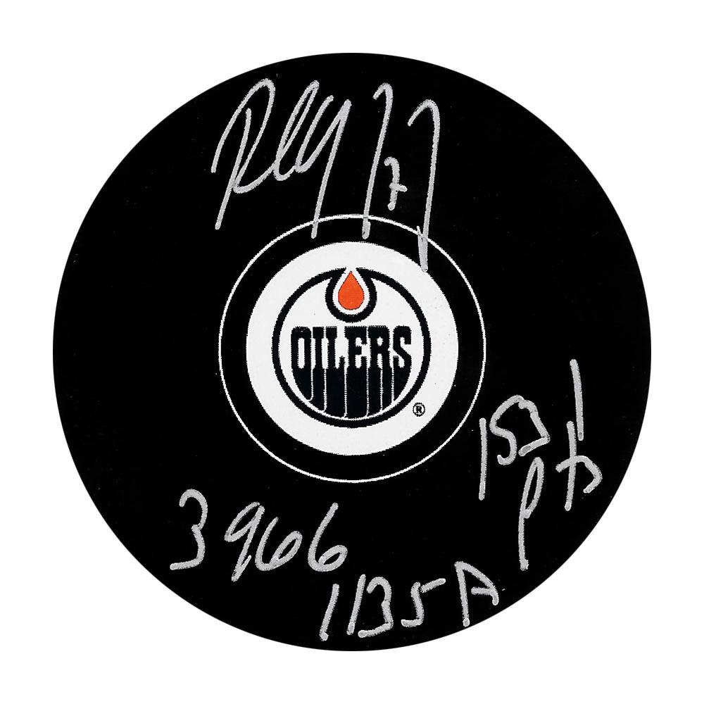 Paul Coffey Autographed Edmonton Oilers Puck w/396 G 1135 A 1531 PTS Inscription