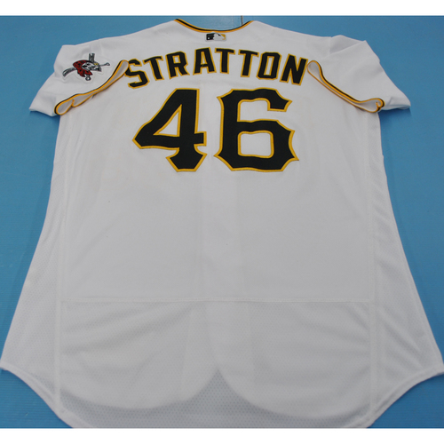 Photo of Game-Used Jersey - MIL at PIT - 7/27/2020 - Chris Stratton Home Jersey