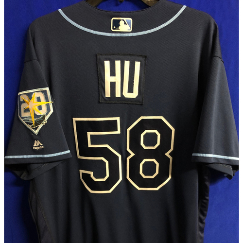 Photo of Game Used 20th Anniversary Navy Jersey: Chih-Wei Hu - September 29, 2018 v TOR