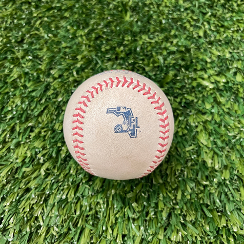 Photo of 2020 Spring Training Game-Used Baseball - BOS vs. MIN - 2/28 - Pitcher - Homer Bailey - Batter - Rafael Devers (Pitch in Dirt)