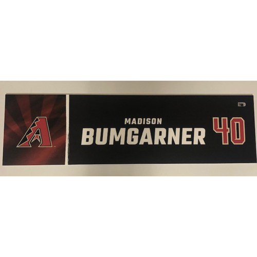 Photo of Madison Bumgarner 2020 Game-Used Locker Name Plate - 9/27/2020 vs. Rockies