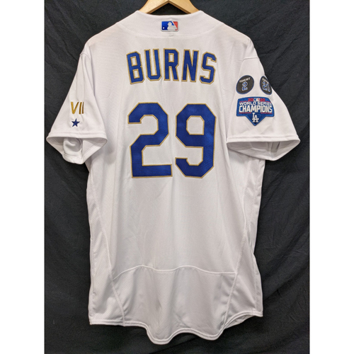 Photo of Andy Burns Game-Used Gold Trim Re-Opening Day Jersey - 6/15/21