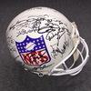 NFL - Old style shield logo multi signed proline helmet signed by all living SB MVP's at the time of SB50 (Including Tom Brady, Peyton Manning, Aaron Rodgers, Joe Namath, Terry Bradshaw, Joe Montana, Jerry Rice, Drew Brees, Emmitt Smith