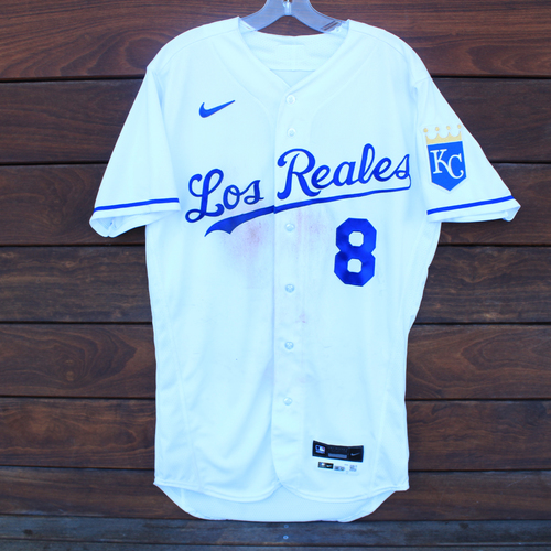 Photo of Game-Used Los Reales Jersey: Nicky Lopez #8 - 1 for 5 (Single) (SEA@KC 9/17/21) - Size 40