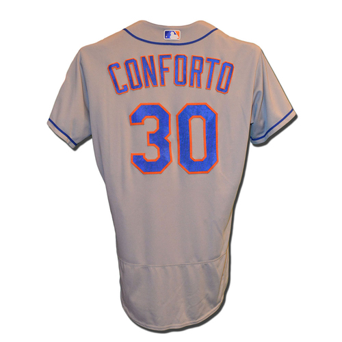 Photo of Michael Conforto #30 - Game Used Road Grey Jersey - Mets vs. Phillies - 9/30/16