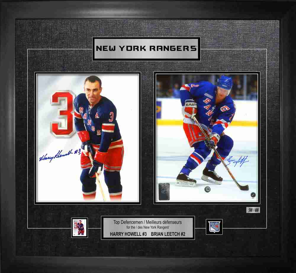 Howell,H & Leetch,B Dual-Signed Defencemen Canada Post Collage Rangers L/E 600