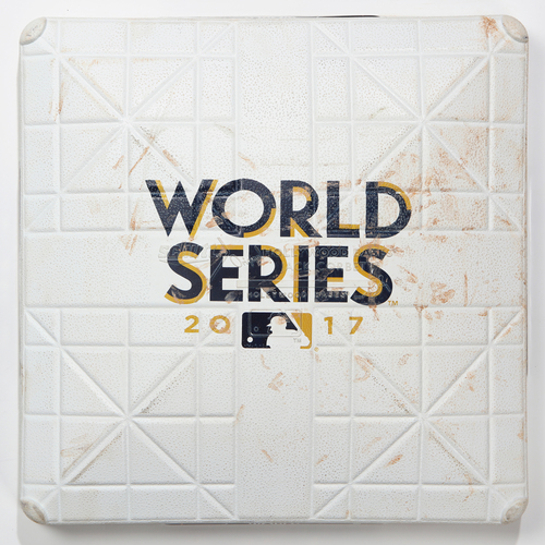 Photo of Game-Used Base: 2017 World Series Game 1 - Houston Astros at Los Angeles Dodgers - 3rd Base used in Innings 7-9