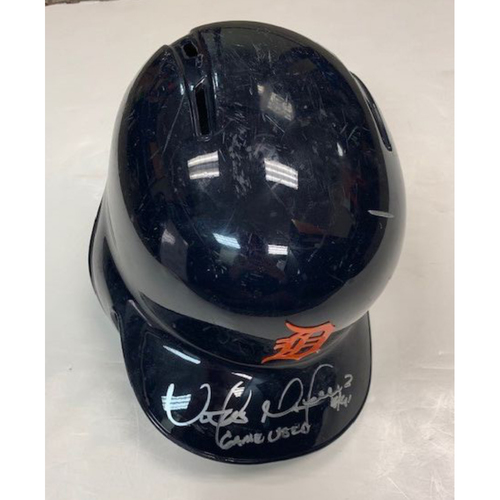 Photo of Autographed Game-Used Road Helmet: Victor Martinez