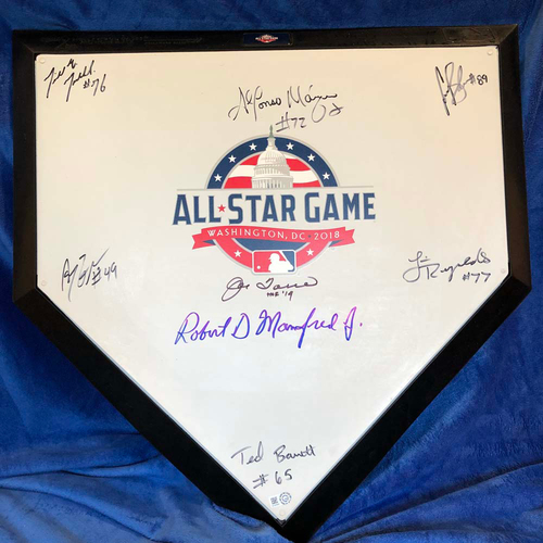 Photo of UMPS CARE AUCTION: 2018 All-Star Game Crew Signed Plate + Joe Torre & Robert Manfred