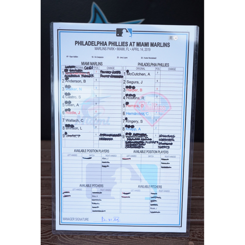 Photo of Game-Used Lineup Card: Phillies @ Marlins (April 14, 2019)