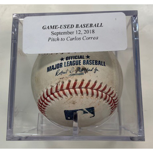 Game-Used Baseball: Daniel Norris Pitched to Carlos Correa