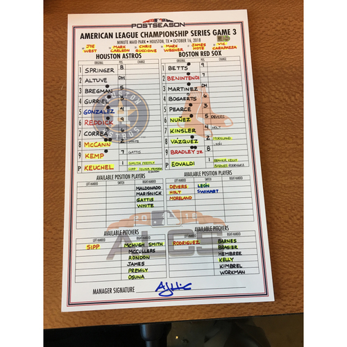 Photo of 2018 Game-Used ALCS Game 3 Lineup Card - 10/16/18 vs BOS