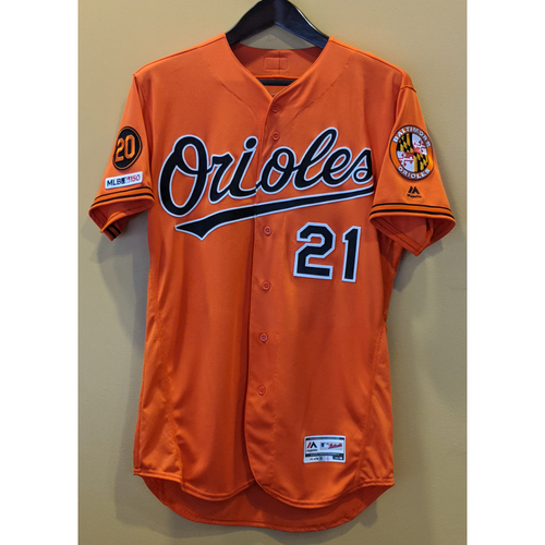 Photo of Austin Hays - Orange Alternate Jersey: Game-Used