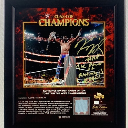 Photo of Kofi Kingston SIGNED Clash of Champions 2019 WrestleMania Gold Edition Plaque (#1 of 1)