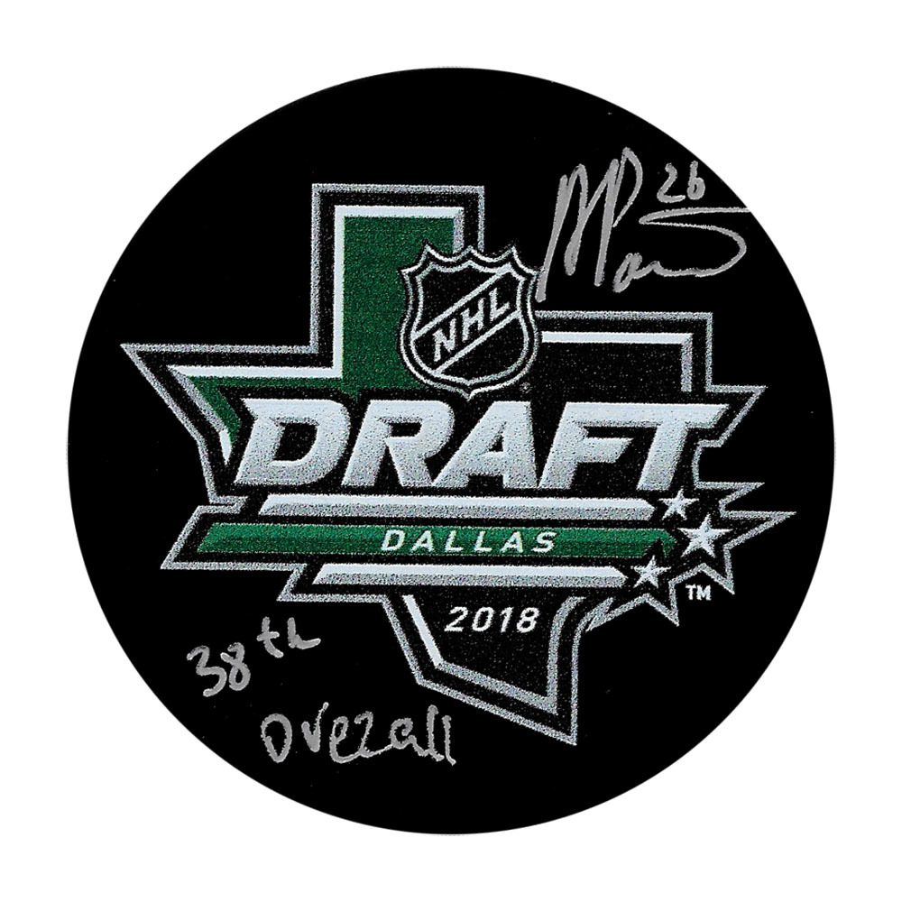 Alexander Romanov Autographed 2018 NHL Entry Draft Puck w/38TH OVERALL Inscription