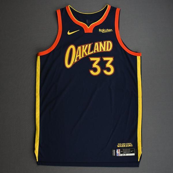 Image of James Wiseman - Golden State Warriors - Game-Worn City Edition Jersey - Scored 20 Points - 2020-21 NBA Season