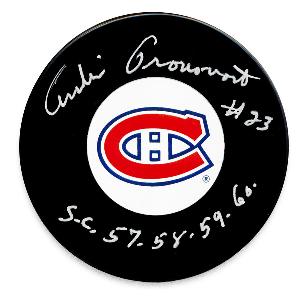 Andre Pronovost Montreal Canadiens SC Years Autographed Puck