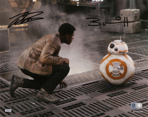 John Boyega as Finn and Brian Herring as BB-8 Dual Autographed Black Ink 8x10 Photo