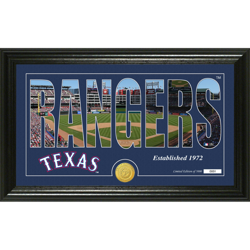 "Photo of Serial #1! Texas Rangers ""Silhouette"" Panoramic Bronze Coin Photo Mint"