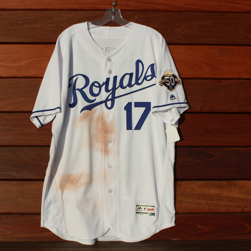 Photo of Game-Used Jersey: Hunter Dozier 84th Career Hit (Size 48 - CLE @ KC - 9/27/18)
