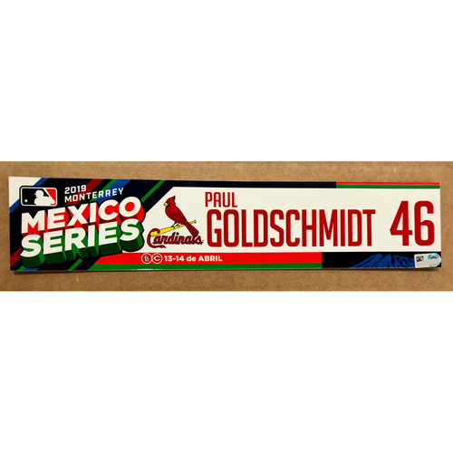 2019 Mexico Series - Game Used Locker Tag -Paul Goldschmidt -  St. Louis Cardinals