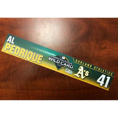 Photo of Al Pedrique Game-Used 2019 A.L. Wild Card Locker Nameplate