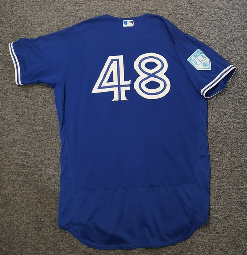 Photo of Authenticated Game Used 2019 Spring Training Jersey - #48 Javy Guerra (Mar 26: 2 IP, 1 Hit, 0 ER, 2 Ks). Size 48