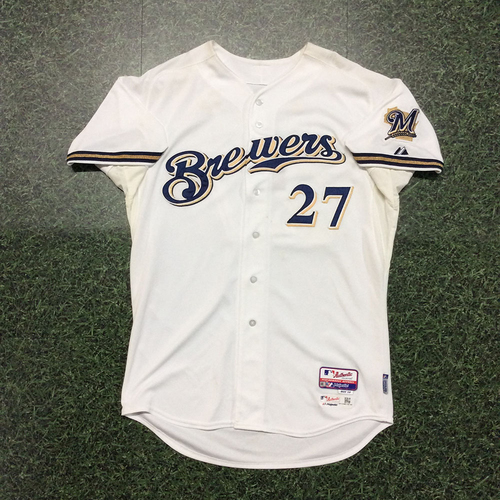 Photo of Carlos Gomez 2015 Game-Used Home White Jersey
