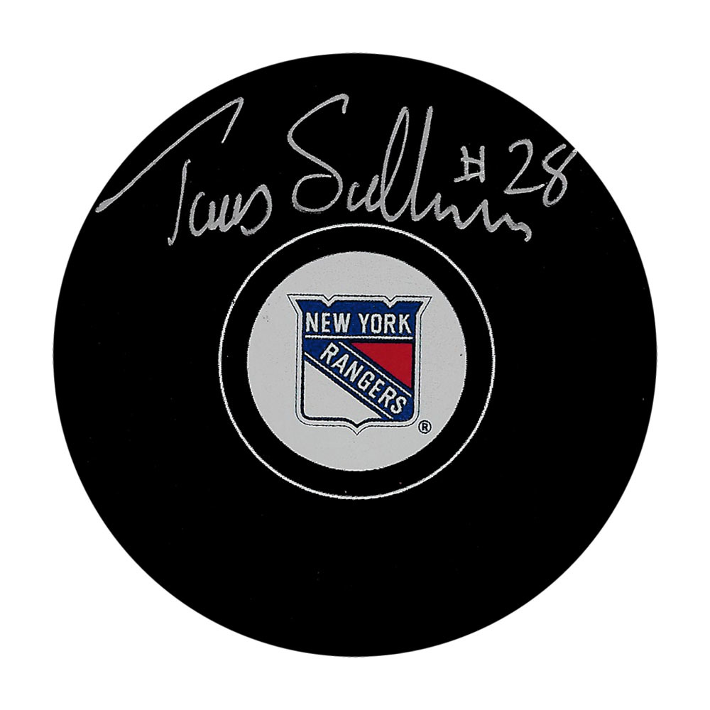 Tomas Sandstrom Autographed New York Rangers Puck