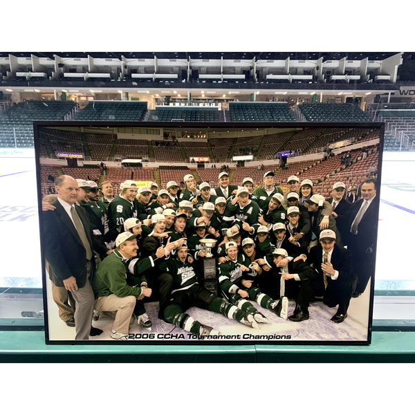 Photo of 2005-06 Autographed Media Guide and CCHA Tournament Champions Framed Photo