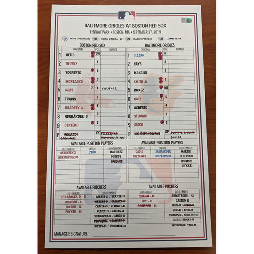 Photo of Red Sox vs. Orioles September 27, 2019 Game Used Lineup Card - Orioles Win 4 to 1