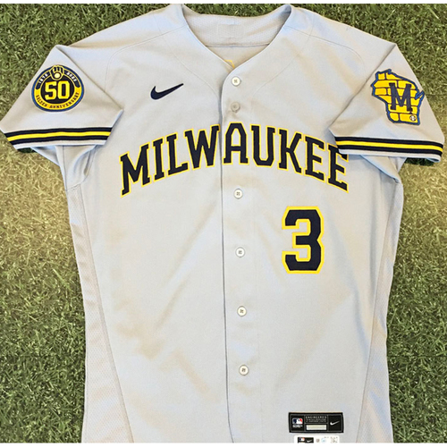 Photo of Orlando Arcia 2020 Team-Issued Road Grey Jersey