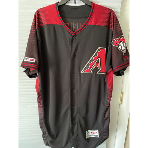 Photo of Adam Jones 2019 Game-Used Black Alternate Jersey - 8/17/19 vs. Giants: Jones went 1-3 with a Walk and a Run Scored