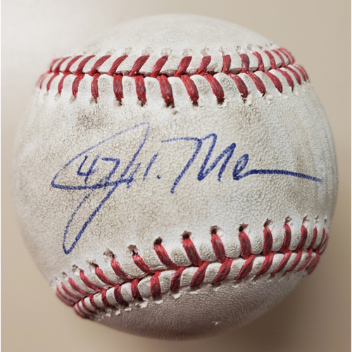 Photo of John Means/Pedro Severino - Baseball from No-Hitter: Game Used Baseball - Pitcher: Aaron Fletcher - Popout to 1B